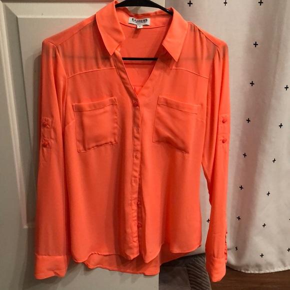 04c17311f9df Express Tops - Neon orange portofino shirt! Size small slim fit